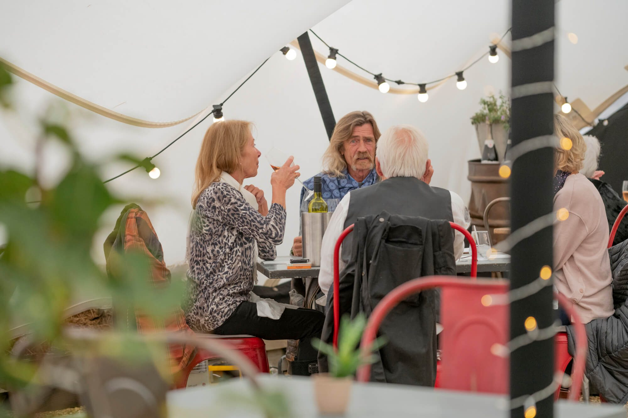 Dining in a marquee
