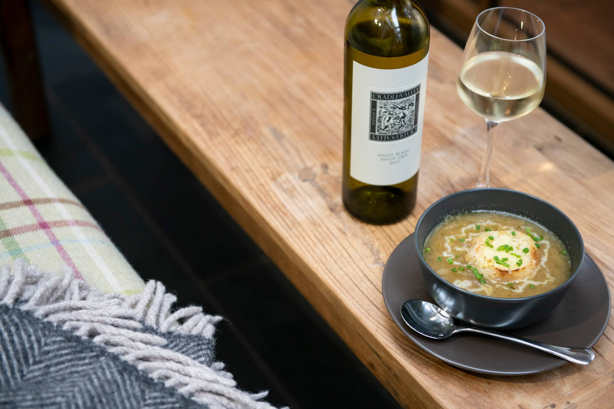 Onion Soup and Cradle Valley White Wine