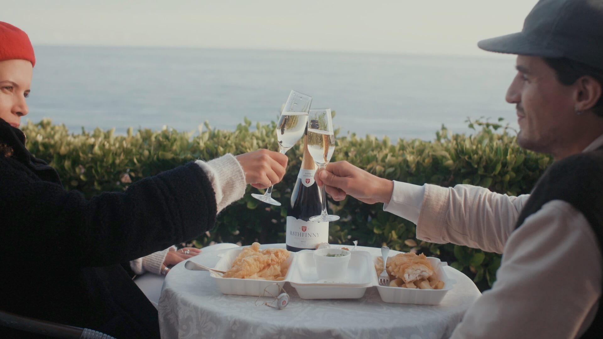 Fish and chips and sparkling wine