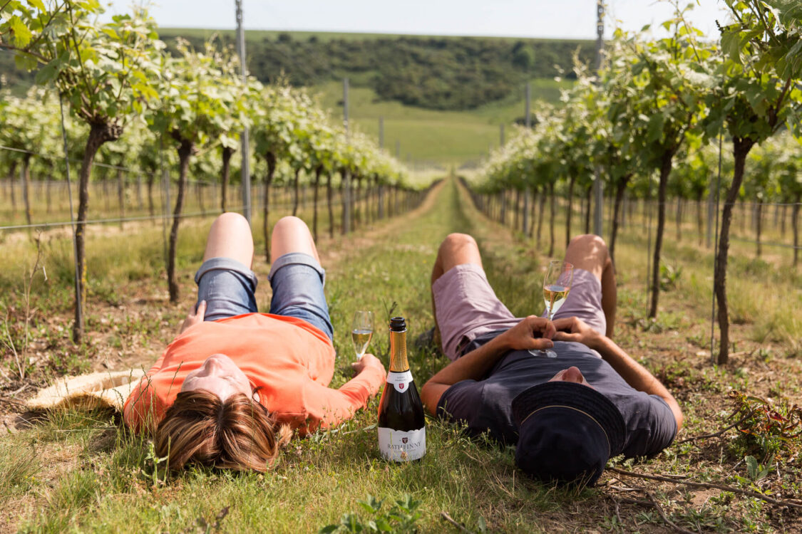 Vineyard workers lying down