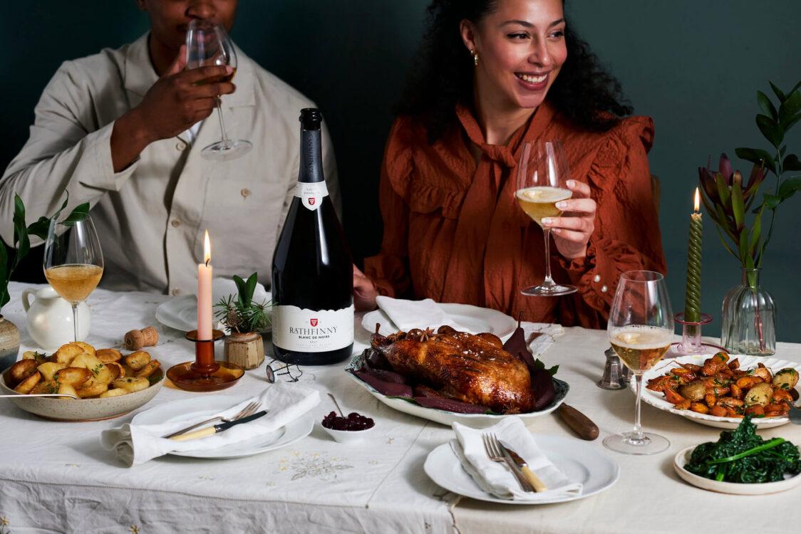 Festive Table Setting with Rathfinny Blanc de Noirs Magnum